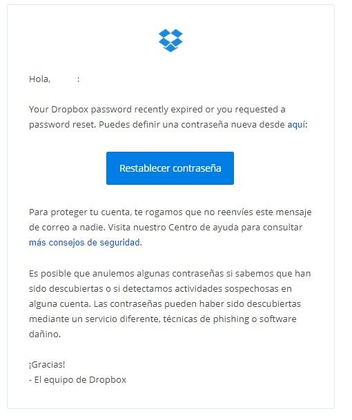 email transaccional restablecer contraseña