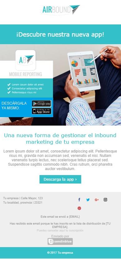 Plantilla de email B2B: anuncio
