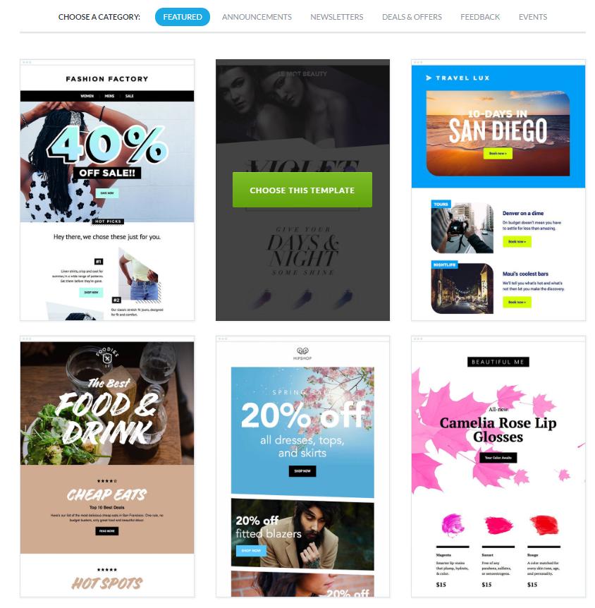 ejemplos de plantillas de newsletter responsive gratis