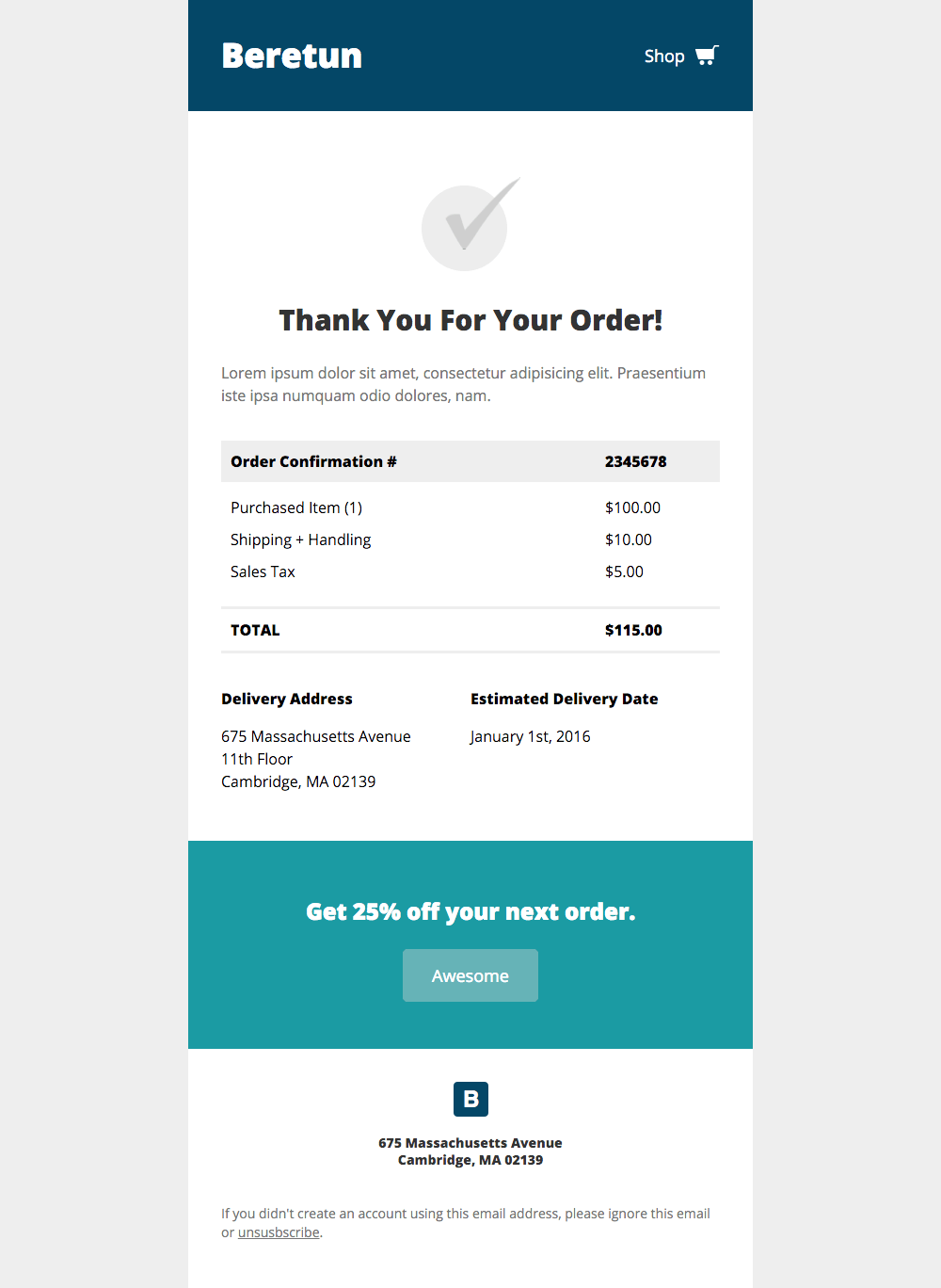 ejemplo de correo transaccional