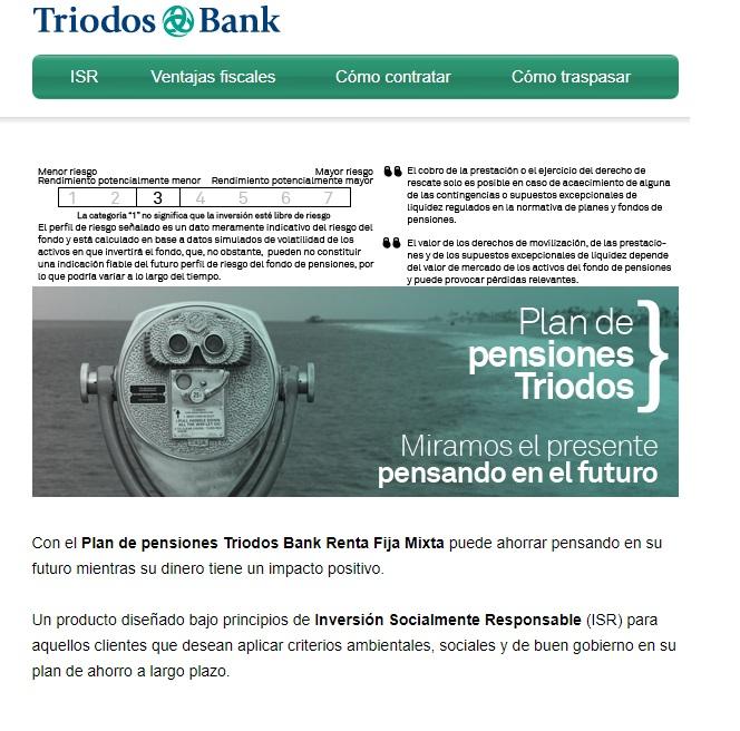 Presentación de un producto en email marketing: Triodos Bank