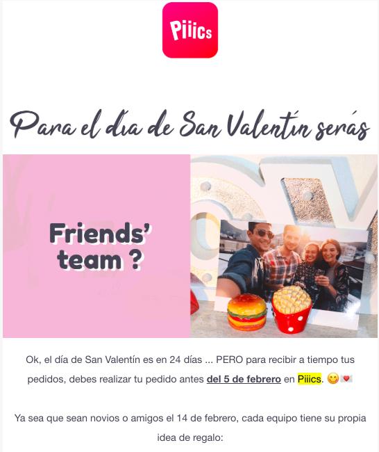 ejemplos correo san valentin