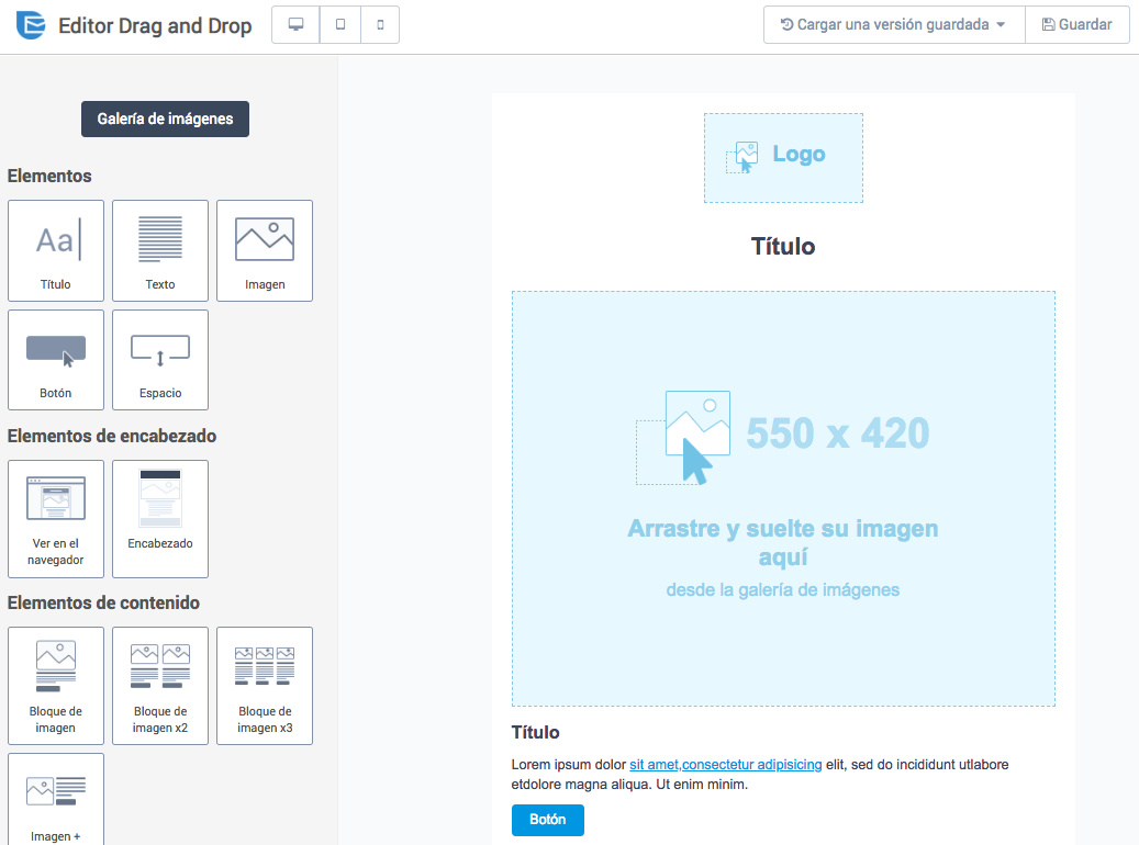 Editor drag and drop de email marketing