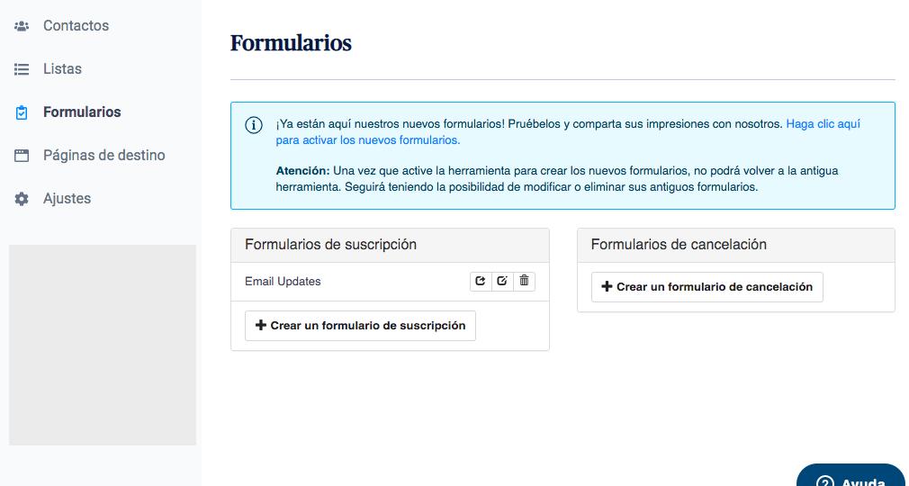 crear newsletter y agregar formulario